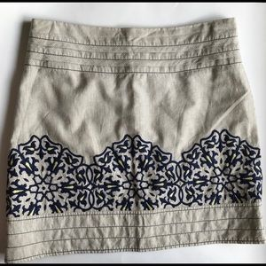Anthropologie Floreat Embroidered Mini Skirt 18""